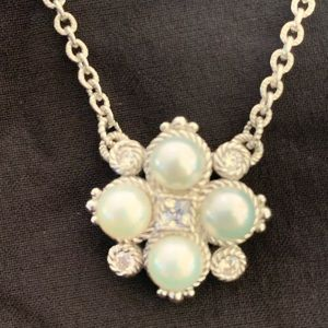 Judith Ripka Sterling Silver Pearl and CZ Necklace
